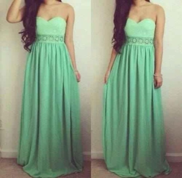 Similiar Dark Mint Green Lace Long Prom Dress Keywords