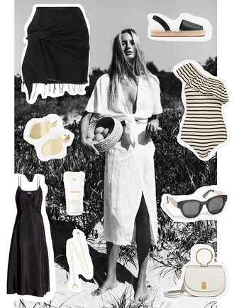 viennawedekind blogger shoes sunglasses bag jewels dress skirt espadrilles black and white black dress black skirt white bag