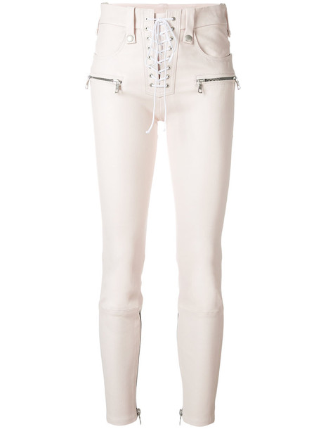 Unravel Project women lace leather nude cotton pants