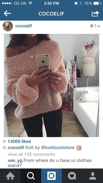 sweater knitted sweater pink oversized sweater off-shoulder