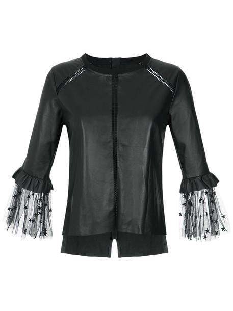 Andrea Bogosian blouse women leather cotton top