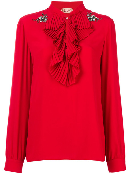 No21 blouse women silk red top