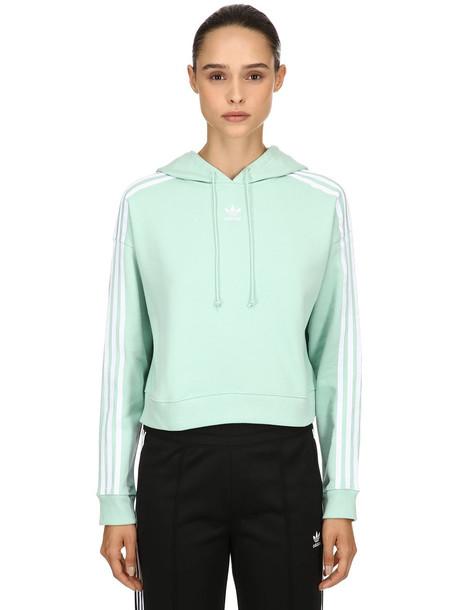 hoodie sweatshirt cropped cotton green blush sweater