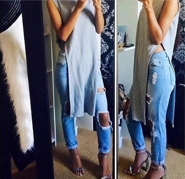 grey shirt long clothes style t-shirt shirt sleeveless top sleeveless high heels fashion clothes jeans