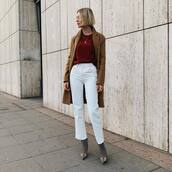 jeans,white jeans,cropped jeans,boots,coat,wool coat,blouse,chain necklace,balenciaga