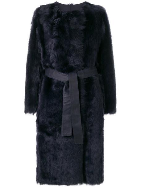 Yves Salomon coat women leather blue