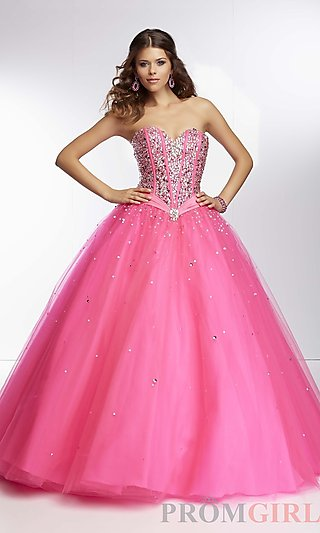 Mori Lee Beaded Satin and Tulle Ball Gowns for Prom- PromGirl