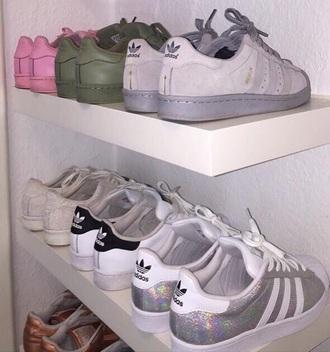 shoes adidas black white green pink grey sparkle shiny