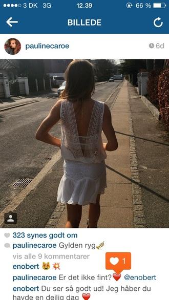 romper lace dress white lace dress open back dresses open back top skirt open back shirt lace skirt white top white dress white skirt