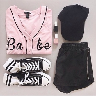 top babe pink cute fashion style black rebellionshirt jersey