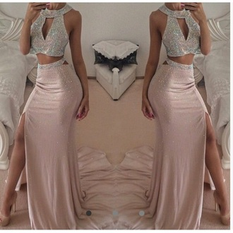 dress prom prom dress prom gown silver dress rose gold formal dress two-piece two piece dress set
