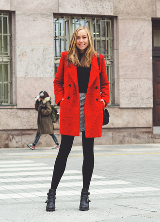 a cup of style blogger red coat ankle boots