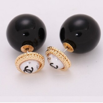 jewels shop with jewelz double pearl stud earring cc cc earings stud earrings