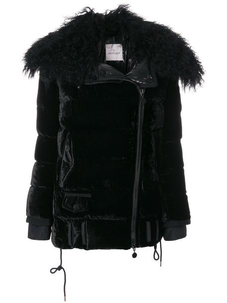 moncler jacket women cotton black velvet