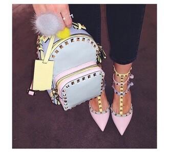 shoes high heels rhinestones glitter heels backpack fashion style
