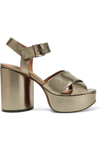 metallic sandals platform sandals leather shoes