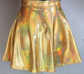 skirt,gold,holographic,iridescent,circle skirt,skater skirt,metallic,outer space,rainbow