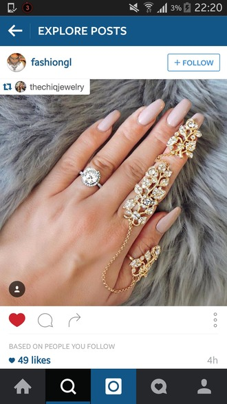 jewels jewelry knuckle ring ring rings and tings gold ring statement ring hand jewelry linked ring full finger rings bling