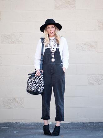 b. jones style blogger hat bag denim overalls white sweater silver jewelry