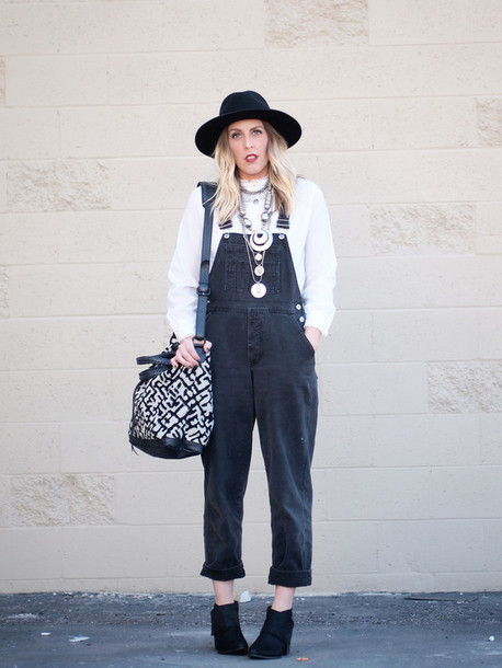 b. jones style blogger hat bag denim overalls white sweater silver jewelry