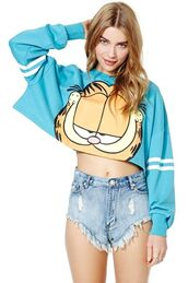 sweater,crop tops,sweatshirt,blue,cats,garfield,nastygal