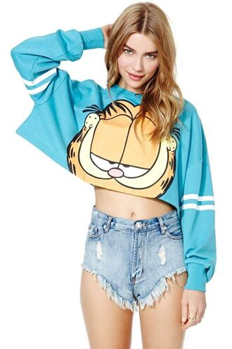 sweater crop tops sweatshirt blue cats garfield nastygal