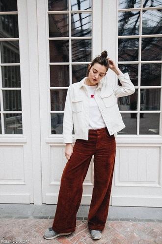 pants corduroy rust red pants top jacket white jacket wide-leg pants white top denim jacket