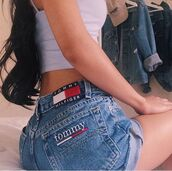 shorts,tommy hilfiger,th,High waisted shorts,denim shorts,clothes,tumblr,love,nice,summer,jeans,denim,tumblr clothes,tumblr outfit,high waisted jeans,summer outfits,summer top,summer shorts,top