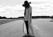 madame rosa,blogger,cardigan,black pants,boho,felt hat,white t-shirt,oversized t-shirt