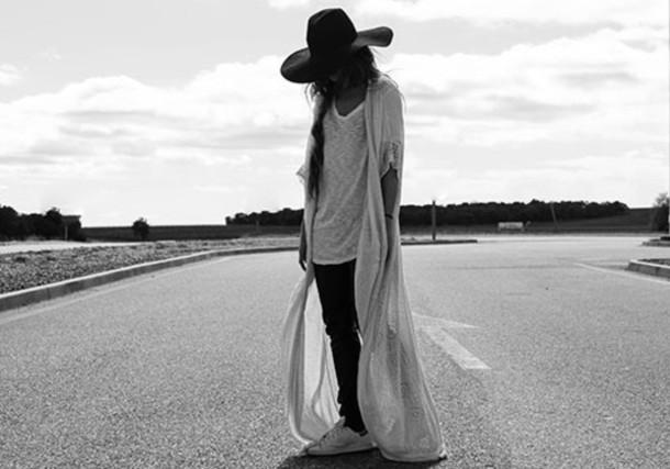 madame rosa blogger cardigan black pants boho felt hat white t-shirt oversized t-shirt