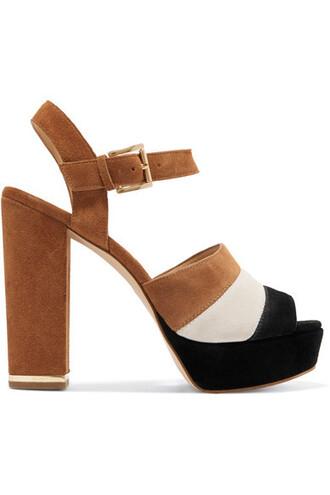 tan sandals platform sandals suede shoes