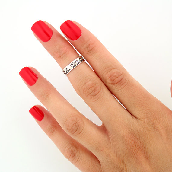 Sterling silver knuckle ring  wave design above by silversmith925