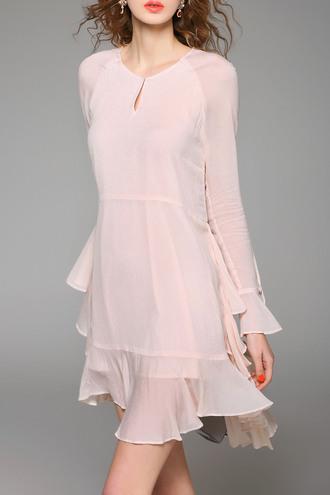 dress pink fashion style elegant classy beautiful flowy dezzal light pink