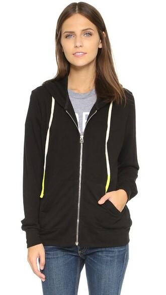 hoodie zip classic black sweater