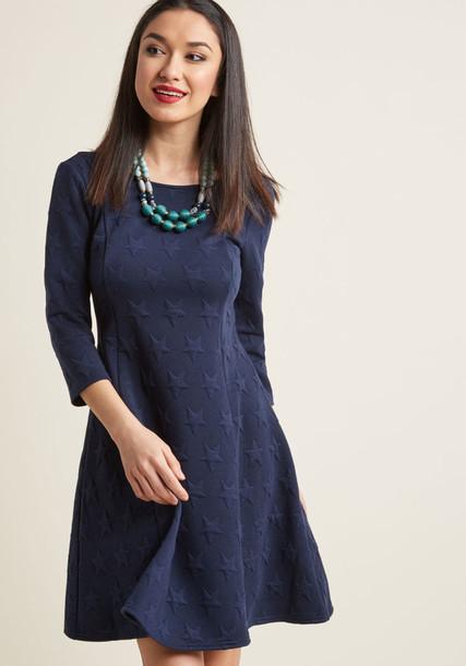 Modcloth dress knit stars blue