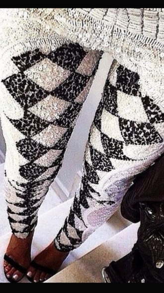 pants sequin pants black and white pants embellished pants newcrystalwavetights newcrystalwavebling newcrystalwave sequin leggings black and white