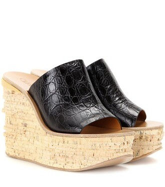 sandals wedge sandals leather black shoes