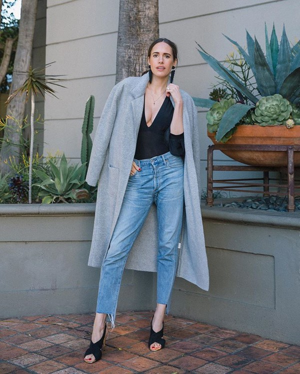 coat gray coat jeans denim sandals black sandals black top top