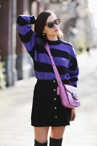 style scrapbook blogger striped sweater crossbody bag lacoste suede skirt black skirt pink bag