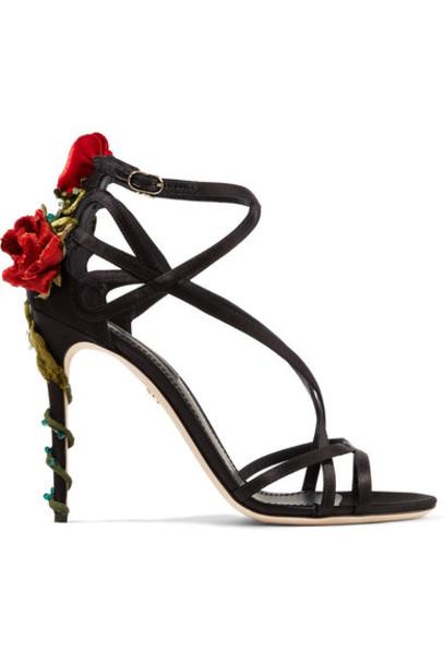 Dolce & Gabbana embellished sandals black velvet satin shoes