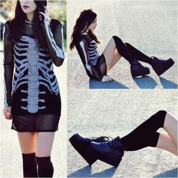 dress skeleton black dress see trough sheer see through dress goth