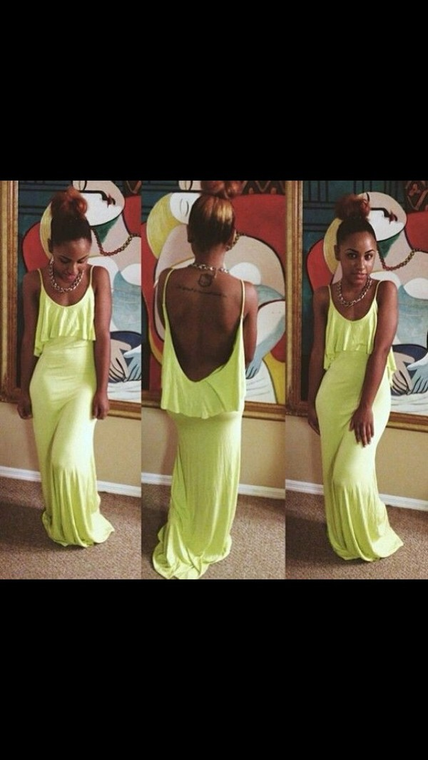 dress maxi dress ruffle train fishtail dress neon yellow