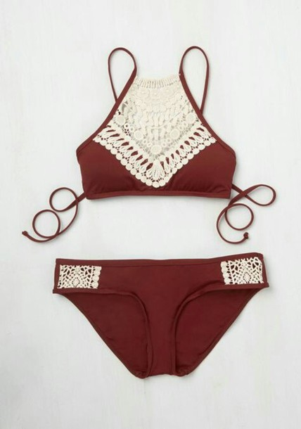 swimwear bikini summer beach red crochet