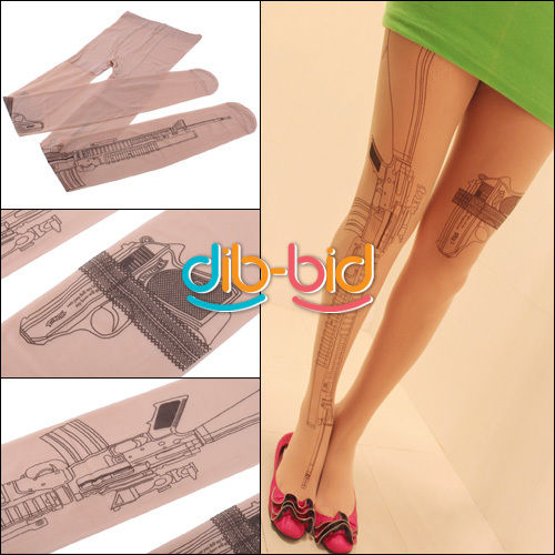 Tattoo Socks Transparent Sexy Machine Gun Pantyhose Stockings Tights Leggings | eBay