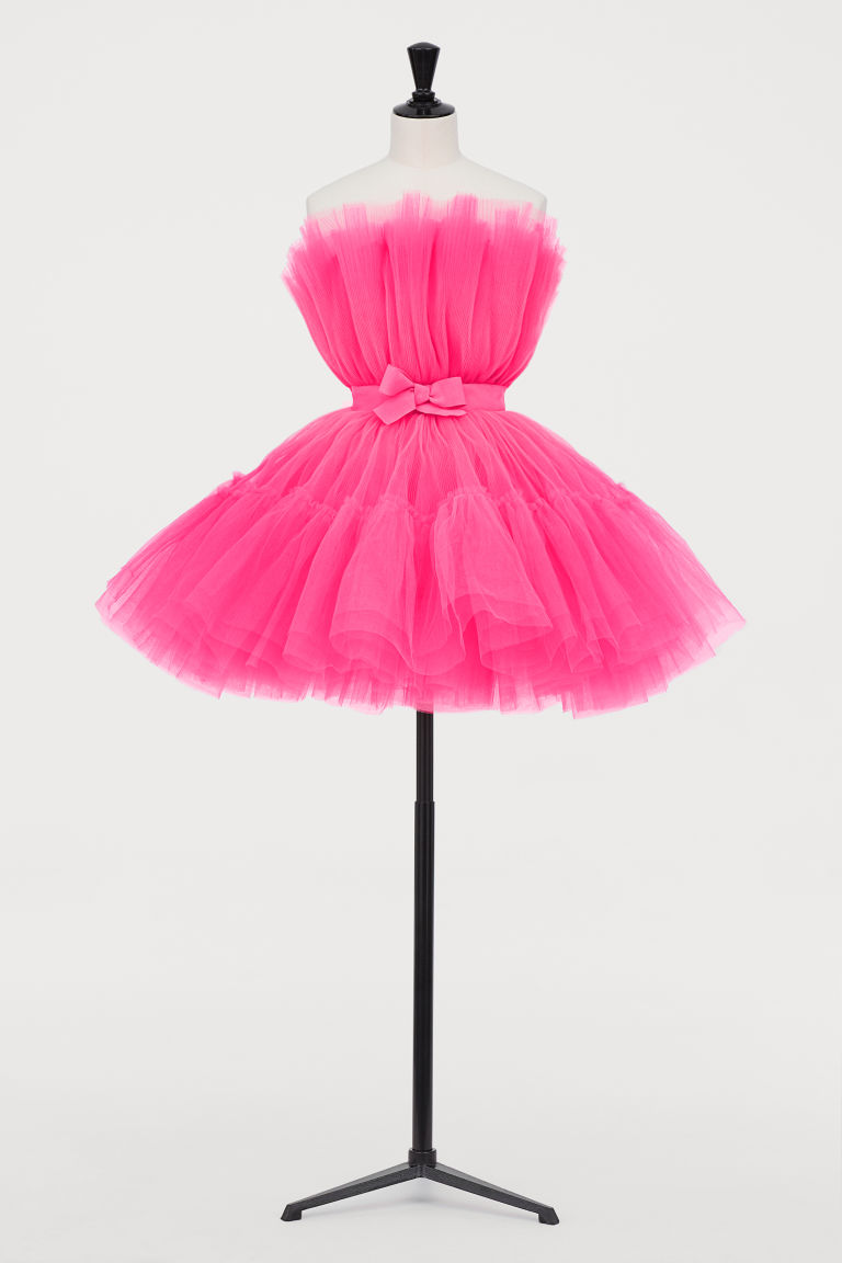 Flared Tulle Dress - Neon pink - | H&M US