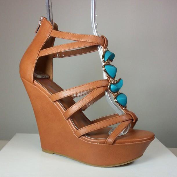 shoes wedges high heels brown shoes gem stones aqua stones aqua