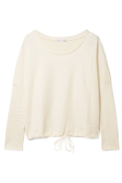 Eberjey sweatshirt quilted cotton cream sweater