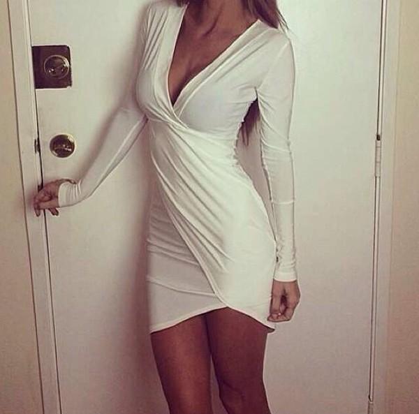 dress white dress besutiful short party dresses bodycon dress white