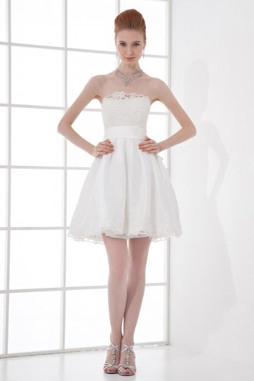 Short Ivory Vintage Strapless Empire Sash Lace Wedding gown with sash [ZHY076]- US$ 160.99 - PersunMall.com