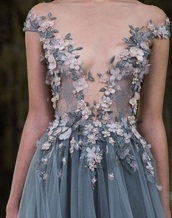 dress,prom dress,gown,Flower lace,blue flowers dress,maxi dress,plunge neckline,open front dress,blue maxi dress,lace dress,prom gown